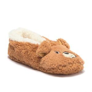 Gold Toe Embroidered Animal Slipper Fox new